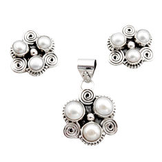 925 sterling silver 10.18cts natural white pearl pendant earrings set r12584