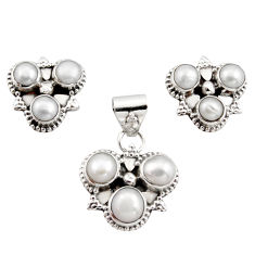 9.47cts natural white pearl 925 sterling silver pendant earrings set r12586