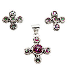 925 sterling silver 9.09cts multicolor rainbow topaz pendant earrings set r12588