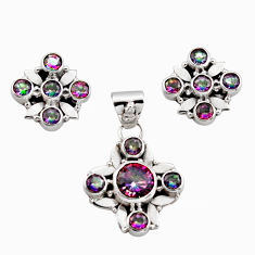 8.46cts multicolor rainbow topaz 925 sterling silver pendant earrings set r12589
