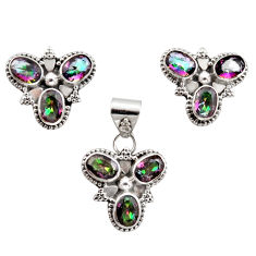 13.22cts multi color rainbow topaz 925 silver pendant earrings set r12590