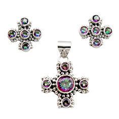 925 silver 11.11cts multi color rainbow topaz pendant earrings set r12591