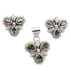11.62cts multi color rainbow topaz 925 silver pendant earrings set r12592