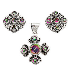 925 silver 10.84cts multi color rainbow topaz pendant earrings set r12593