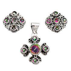 925 silver 10.84cts multi color rainbow topaz pendant earrings set r12593