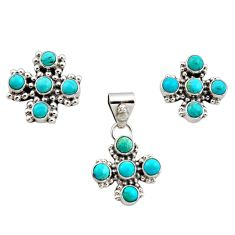 7.22cts green arizona mohave turquoise 925 silver pendant earrings set r12595