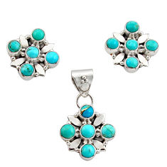 5.99cts green arizona mohave turquoise 925 silver pendant earrings set r12596