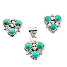 925 silver 8.44cts green arizona mohave turquoise pendant earrings set r12597