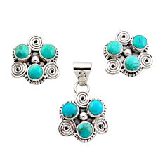 8.71cts green arizona mohave turquoise 925 silver pendant earrings set r12598
