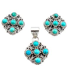 925 silver 7.43cts green arizona mohave turquoise pendant earrings set r12600