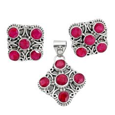 13.78cts natural red ruby 925 sterling silver pendant earrings set r20935