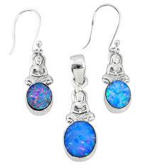 925 silver 5.97cts natural doublet opal australian pendant earrings set r69964