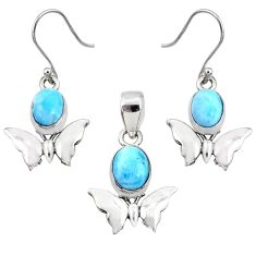7.50cts natural blue larimar oval silver butterfly pendant earrings set r70084