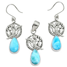 11.53cts natural blue larimar 925 silver angel charm pendant earrings set r70099