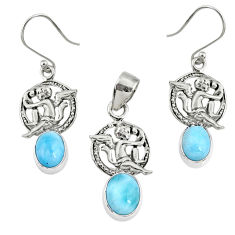 925 silver 7.99cts natural blue larimar angel charm pendant earrings set r70100