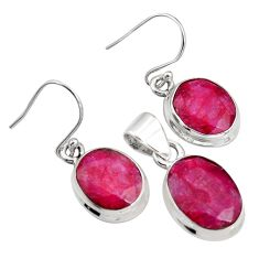 17.81cts natural red ruby 925 silver pendant earrings set jewelry r8813
