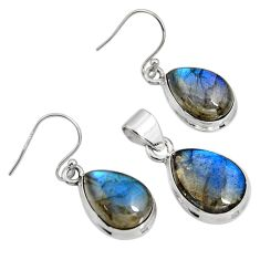 21.76cts natural blue labradorite 925 sterling silver pendant earrings set r8821