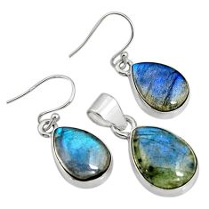 19.53cts natural blue labradorite 925 sterling silver pendant earrings set r8822