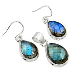 20.37cts natural blue labradorite 925 sterling silver pendant earrings set r8823