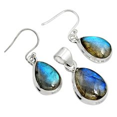 925 silver 20.37cts natural blue labradorite pear pendant earrings set r8824