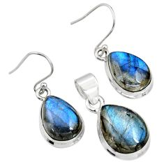 21.76cts natural blue labradorite 925 sterling silver pendant earrings set r8825