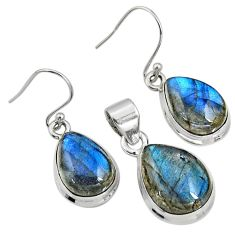 20.83cts natural blue labradorite 925 sterling silver pendant earrings set r8826