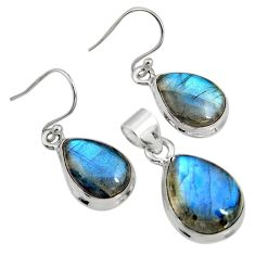 22.57cts natural blue labradorite 925 sterling silver pendant earrings set r8827