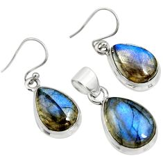 20.39cts natural blue labradorite 925 sterling silver pendant earrings set r8829