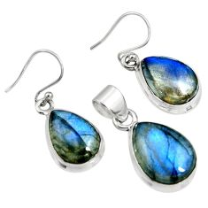 19.12cts natural blue labradorite 925 sterling silver pendant earrings set r8830