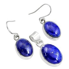 19.56cts natural blue lapis lazuli 925 silver pendant earrings set r8843