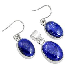 925 silver 678.68cts natural blue lapis lazuli oval pendant earrings set r8844