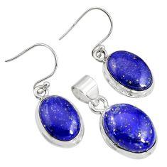 20.83cts natural blue lapis lazuli 925 silver pendant earrings set r8845