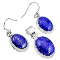 21.76cts natural blue lapis lazuli 925 silver pendant earrings set r8846