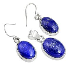 21.76cts natural blue lapis lazuli oval 925 silver pendant earrings set r8847
