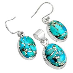18.98cts blue copper turquoise 925 sterling silver pendant earrings set r8851