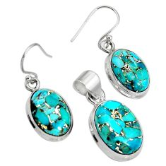18.98cts blue copper turquoise 925 sterling silver pendant earrings set r8852