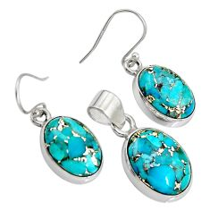 925 sterling silver 18.63cts blue copper turquoise pendant earrings set r8853