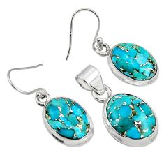 19.12cts blue copper turquoise 925 sterling silver pendant earrings set r8854