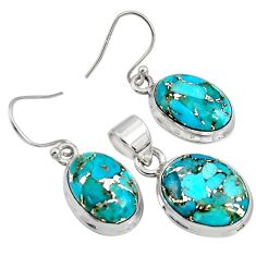925 sterling silver 19.87cts blue copper turquoise pendant earrings set r8856
