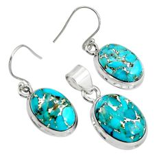 20.83cts blue copper turquoise 925 sterling silver pendant earrings set r8857