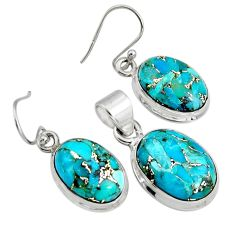 925 silver 18.98cts blue copper turquoise oval pendant earrings set r8859