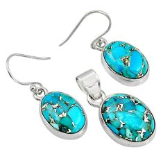 18.63cts blue copper turquoise 925 sterling silver pendant earrings set r8860