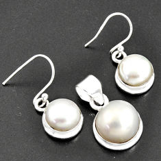 16.93cts natural white pearl 925 sterling silver pendant earrings set r8869