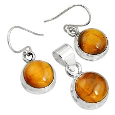 925 silver 15.97cts natural brown tiger's eye round pendant earrings set r8871