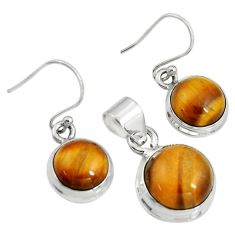 16.93cts natural brown tiger's eye 925 silver pendant earrings set r8872