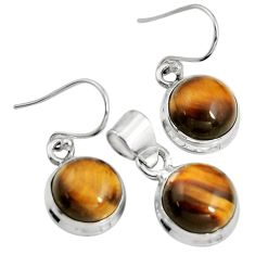 925 silver 16.17cts natural brown tiger's eye round pendant earrings set r8874