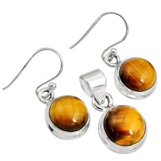15.33cts natural brown tiger's eye 925 silver pendant earrings set r8875