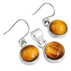 13.77cts natural brown tiger's eye round 925 silver pendant earrings set r8876