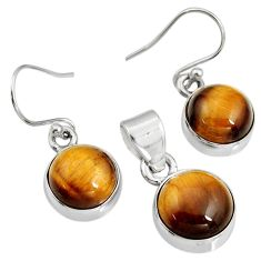 13.71cts natural brown tiger's eye 925 silver pendant earrings set r8877