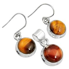 925 silver 15.33cts natural brown tiger's eye round pendant earrings set r8878